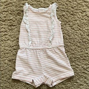Carter's pink and white striped romper 9 mth